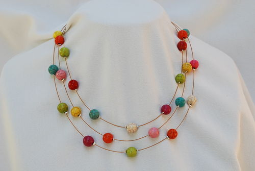 Collier pierre Howlite ronde multicolore