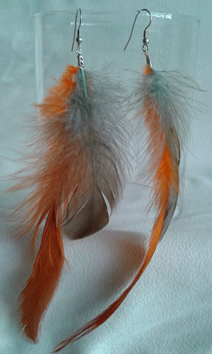 Boucles d'oreilles plume orange et marron/gris